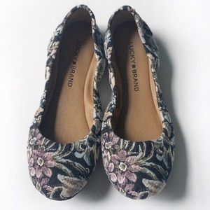 Lucky Brand Emmie Shady Spruce Floral Flats